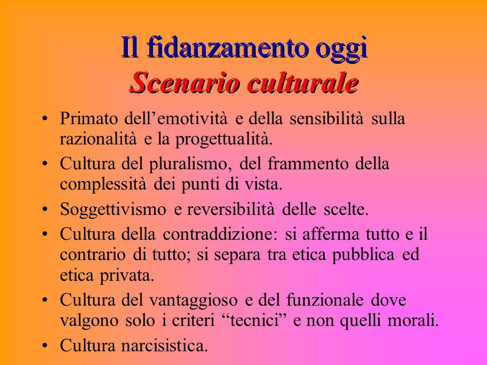 Il fidanzamento oggi Scenario culturale Primato dell'emotività e della sensibilità sulla razionalità e la progettualità.
