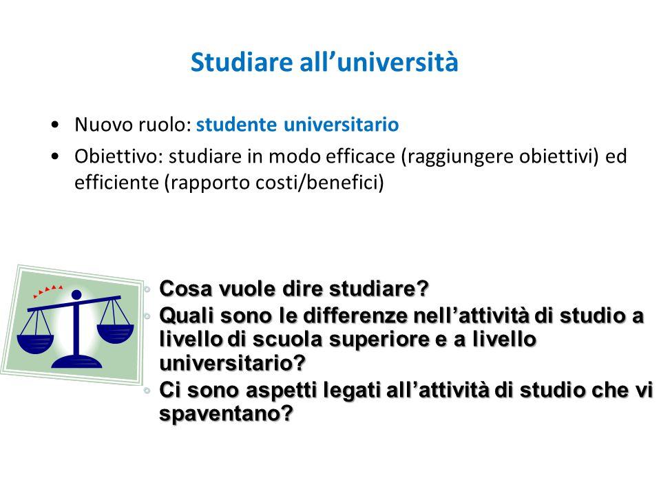 Nuovo ruolo: studente universitario Obiettivo: studiare in modo efficace (raggiungere obiettivi) ed efficiente (rapporto costi/benefici) Studiare all'università ◦ Cosa vuole dire studiare.