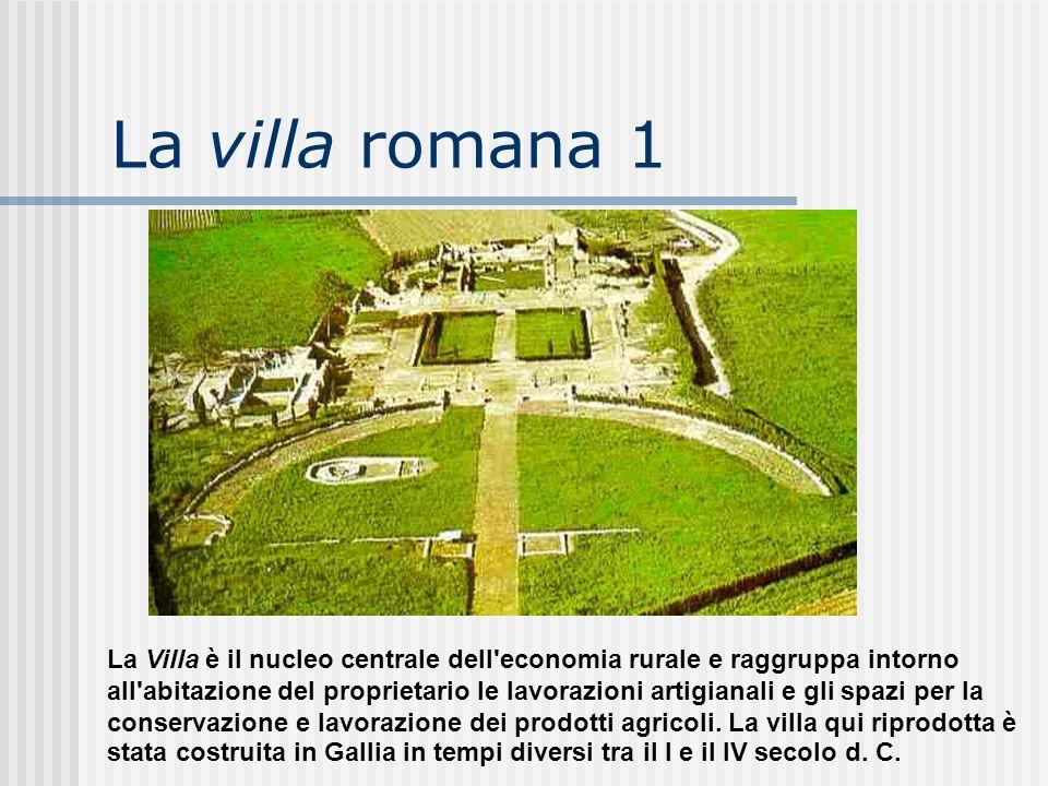 La villa romana 1 La Villa è il nucleo centrale dell'economia rurale e raggruppa intorno all'abitazione del proprietario le lavorazioni artigianali e