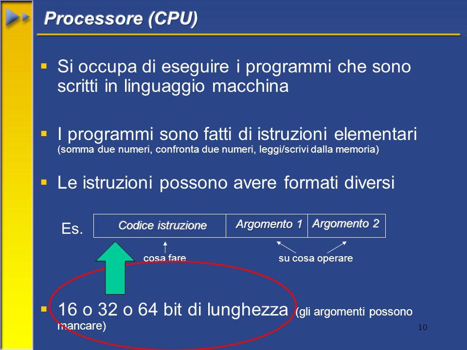 10  Si occupa di eseguire i programmi che sono scritti in linguaggio macchina  I programmi sono fatti di istruzioni elementari (somma due numeri, confronta due numeri, leggi/scrivi dalla memoria)  Le istruzioni possono avere formati diversi Es.