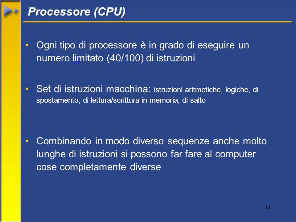 11 Ogni tipo di processore è in grado di eseguire un numero limitato (40/100) di istruzioni Set di istruzioni macchina: istruzioni aritmetiche, logiche, di spostamento, di lettura/scrittura in memoria, di salto Combinando in modo diverso sequenze anche molto lunghe di istruzioni si possono far fare al computer cose completamente diverse
