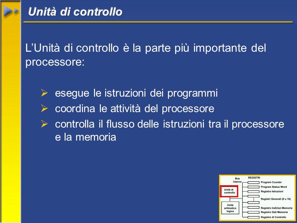 16 L'Unità di controllo è la parte più importante del processore:  esegue le istruzioni dei programmi  coordina le attività del processore  controlla il flusso delle istruzioni tra il processore e la memoria