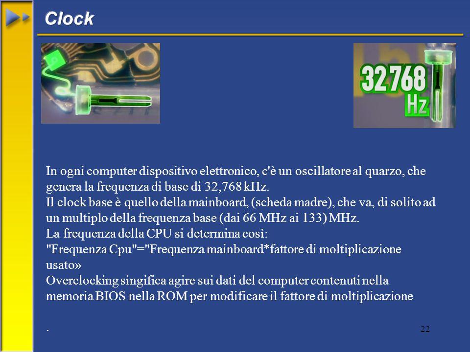 22 In ogni computer dispositivo elettronico, c è un oscillatore al quarzo, che genera la frequenza di base di 32,768 kHz.