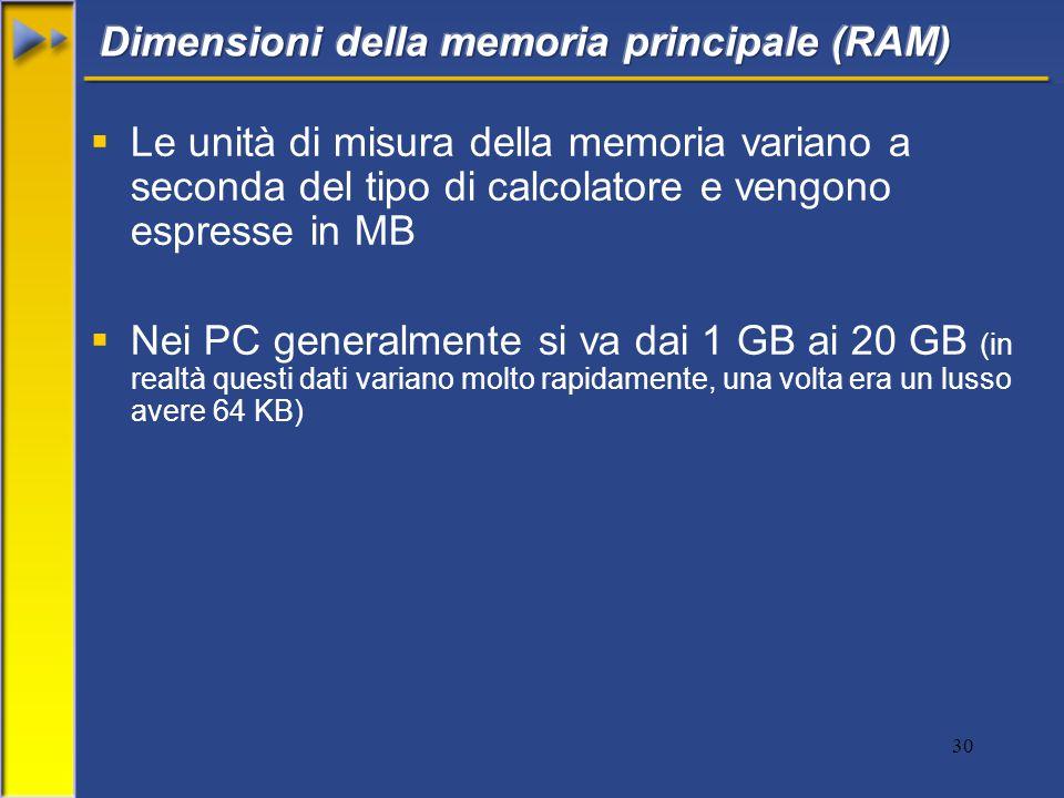 30  Le unità di misura della memoria variano a seconda del tipo di calcolatore e vengono espresse in MB  Nei PC generalmente si va dai 1 GB ai 20 GB (in realtà questi dati variano molto rapidamente, una volta era un lusso avere 64 KB)