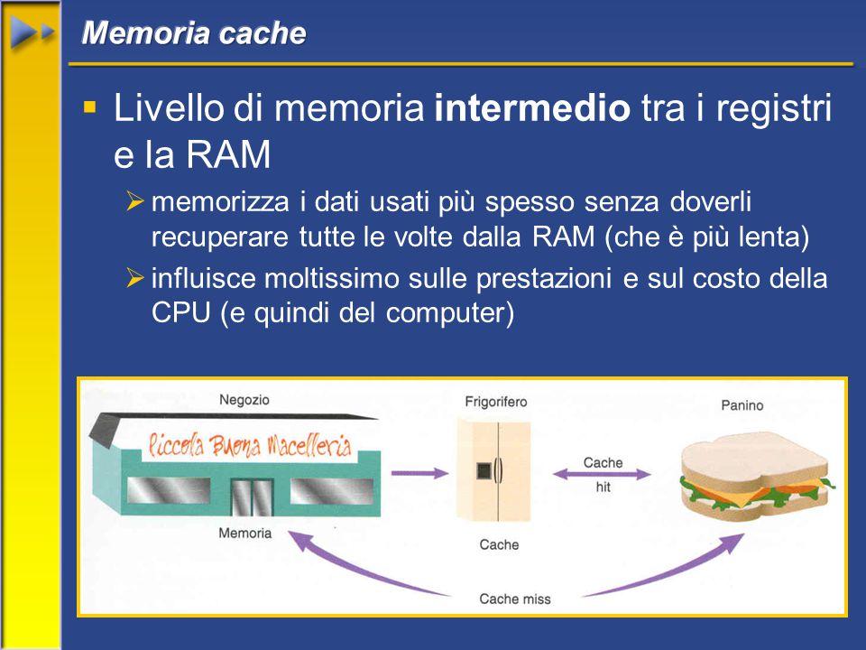 34  Livello di memoria intermedio tra i registri e la RAM  memorizza i dati usati più spesso senza doverli recuperare tutte le volte dalla RAM (che è più lenta)  influisce moltissimo sulle prestazioni e sul costo della CPU (e quindi del computer)