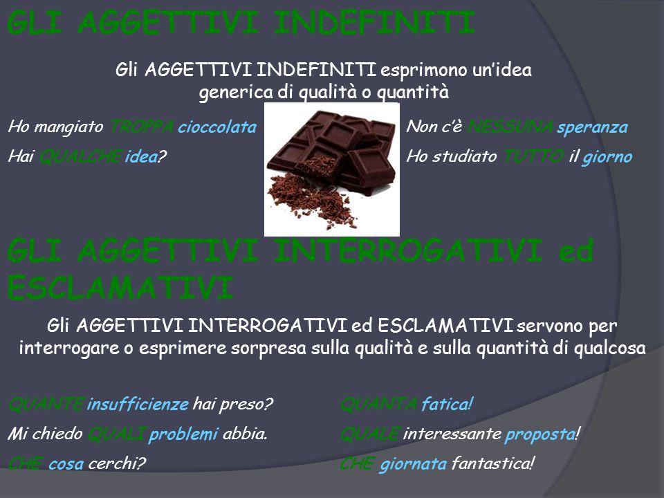 GLI AGGETTIVI INDEFINITI Gli AGGETTIVI INDEFINITI esprimono un'idea generica di qualità o quantità Ho mangiato TROPPA cioccolataNon c'è NESSUNA speranza Hai QUALCHE idea?Ho studiato TUTTO il giorno GLI AGGETTIVI INTERROGATIVI ed ESCLAMATIVI Gli AGGETTIVI INTERROGATIVI ed ESCLAMATIVI servono per interrogare o esprimere sorpresa sulla qualità e sulla quantità di qualcosa QUANTE insufficienze hai preso?QUANTA fatica.