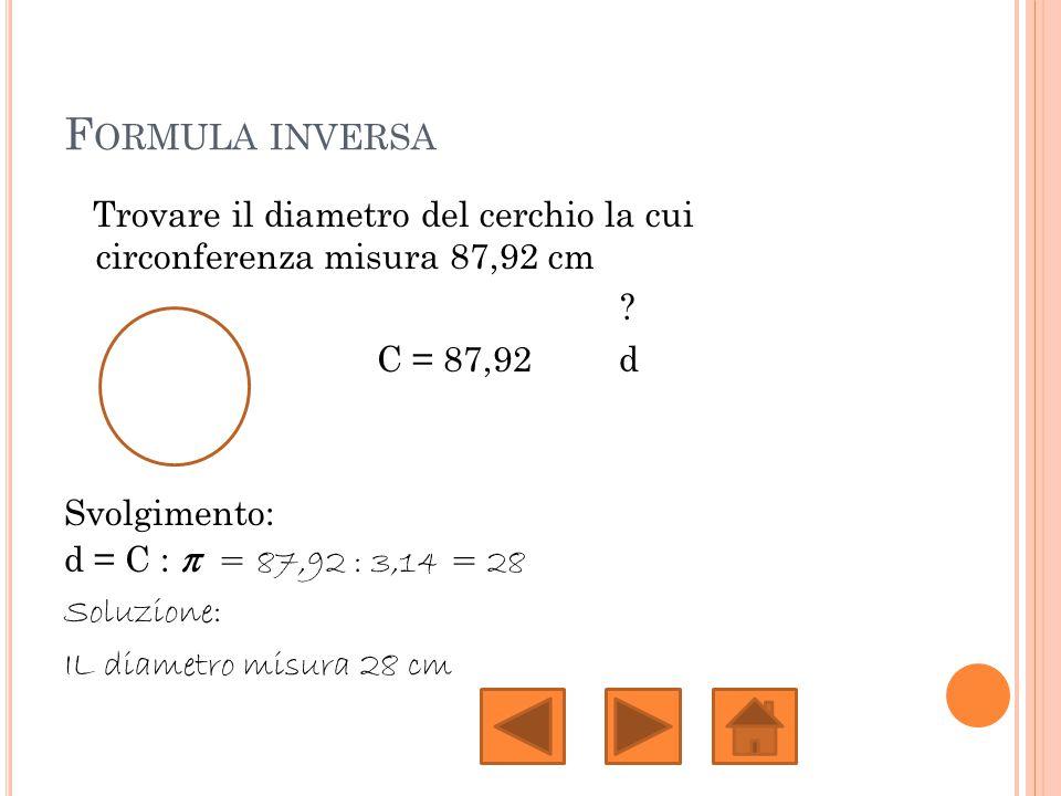 F ORMULA INVERSA Trovare il diametro del cerchio la cui circonferenza misura 87,92 cm ? C = 87,92 d Svolgimento: d = C : π = 87,92 : 3,14 = 28 Soluzio