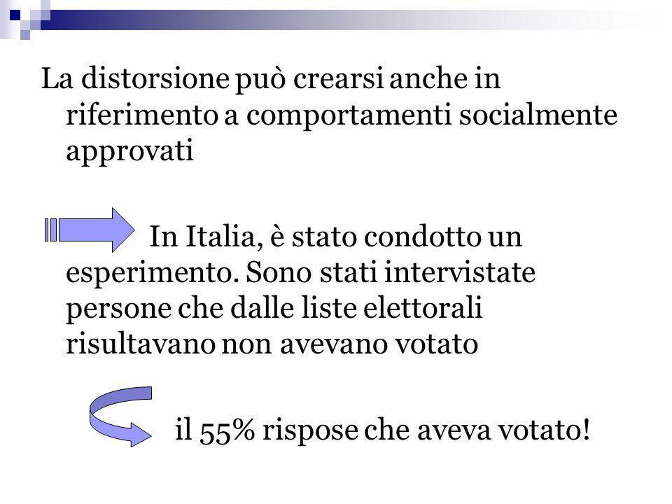La distorsione può crearsi anche in riferimento a comportamenti socialmente approvati In Italia, è stato condotto un esperimento. Sono stati intervist