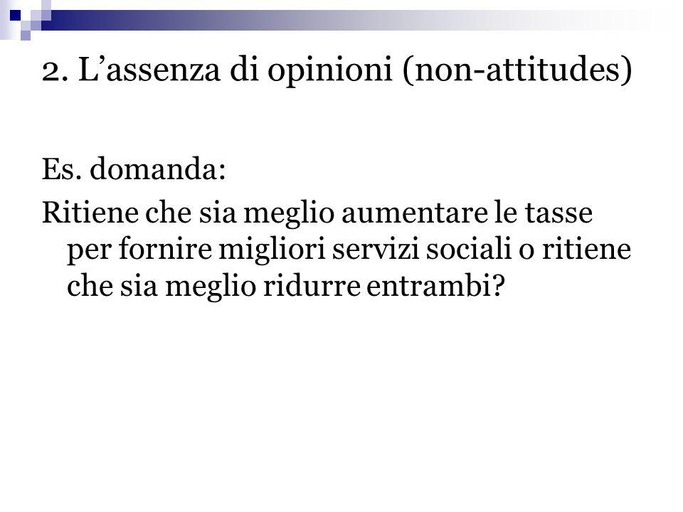 2. L'assenza di opinioni (non-attitudes) Es. domanda: Ritiene che sia meglio aumentare le tasse per fornire migliori servizi sociali o ritiene che sia