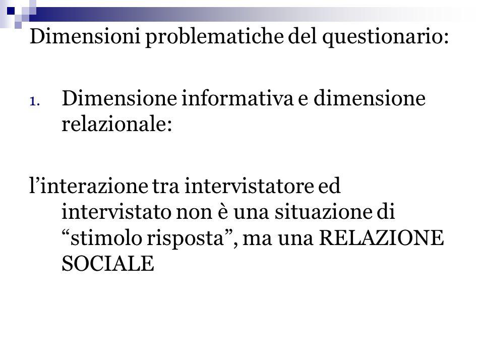 Dimensioni problematiche del questionario: 1. Dimensione informativa e dimensione relazionale: l'interazione tra intervistatore ed intervistato non è