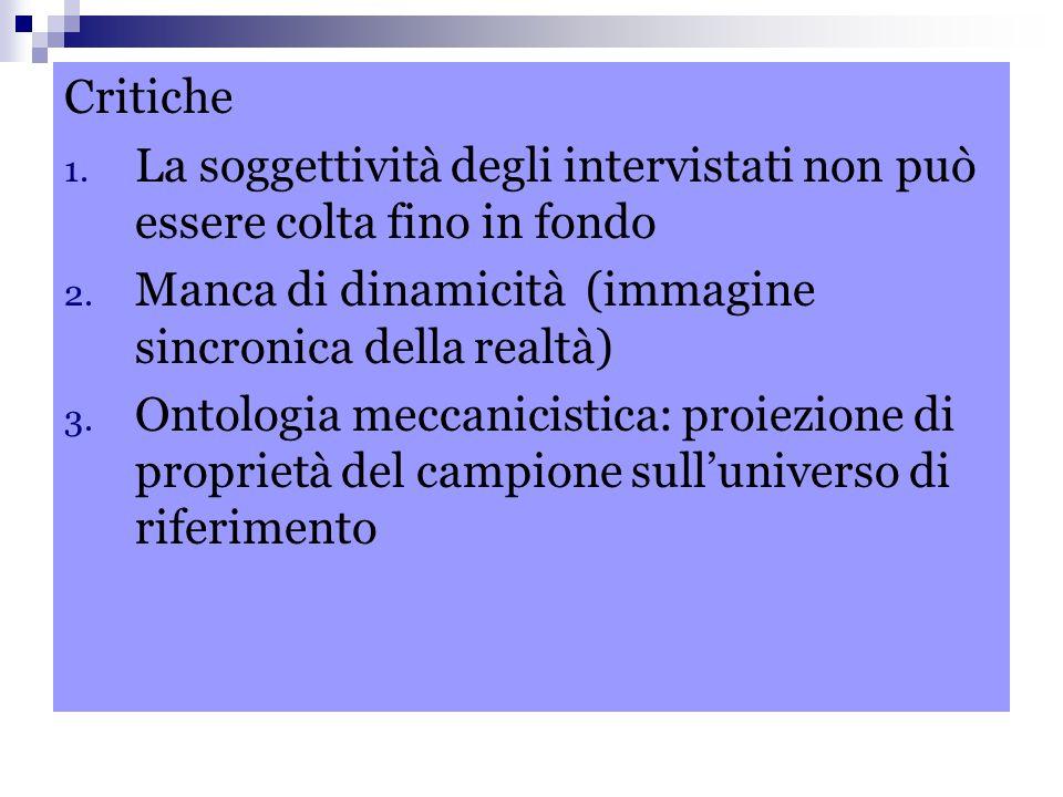 Critiche 1. La soggettività degli intervistati non può essere colta fino in fondo 2. Manca di dinamicità (immagine sincronica della realtà) 3. Ontolog
