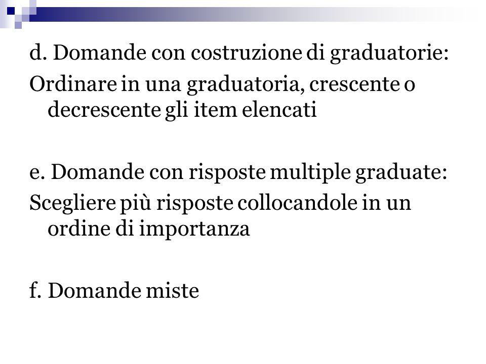 d. Domande con costruzione di graduatorie: Ordinare in una graduatoria, crescente o decrescente gli item elencati e. Domande con risposte multiple gra