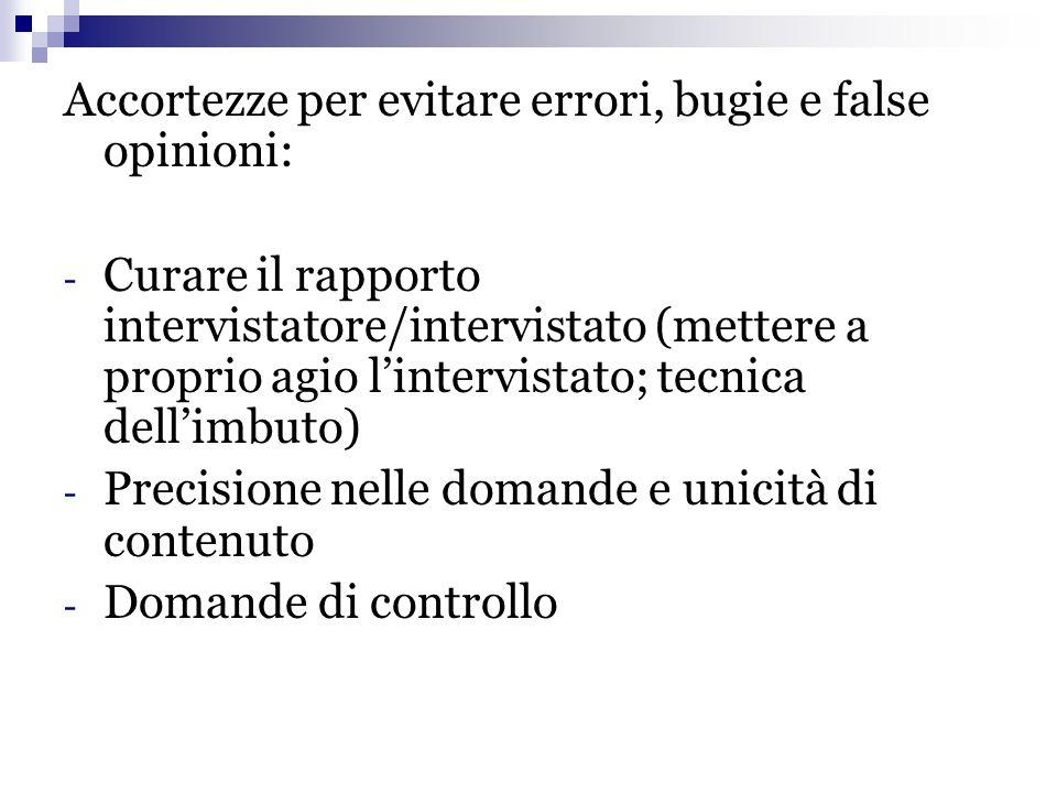 Accortezze per evitare errori, bugie e false opinioni: - Curare il rapporto intervistatore/intervistato (mettere a proprio agio l'intervistato; tecnic