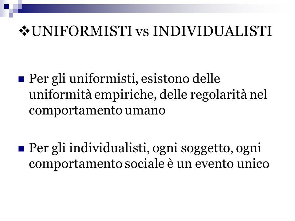  UNIFORMISTI vs INDIVIDUALISTI Per gli uniformisti, esistono delle uniformità empiriche, delle regolarità nel comportamento umano Per gli individuali