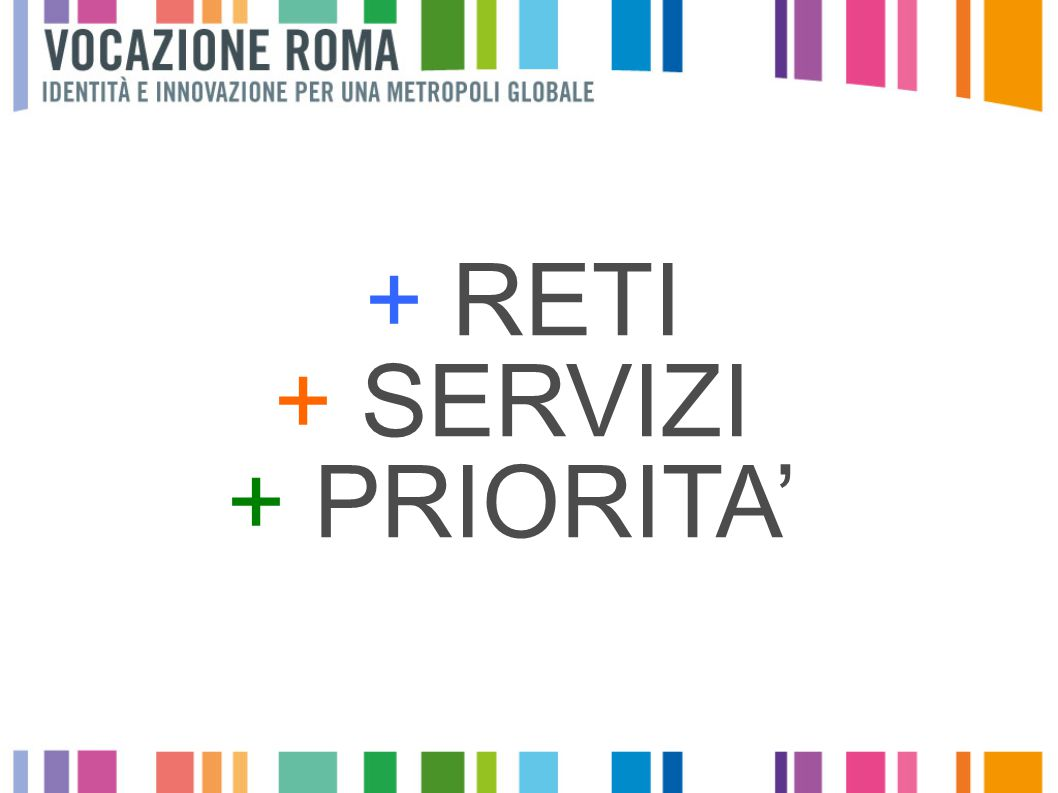 + RETI + SERVIZI + PRIORITA'