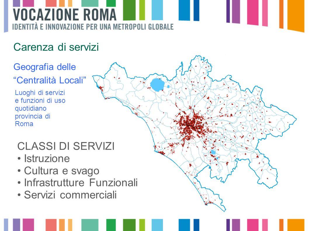 CLASSI DI SERVIZI Istruzione Cultura e svago Infrastrutture Funzionali Servizi commerciali Geografia delle Centralità Locali Luoghi di servizi e funzioni di uso quotidiano provincia di Roma Carenza di servizi