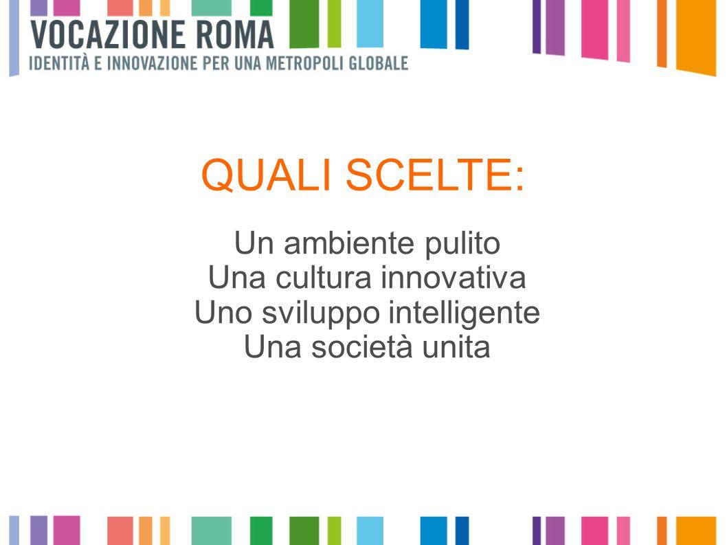 QUALI SCELTE: Un ambiente pulito Una cultura innovativa Uno sviluppo intelligente Una società unita
