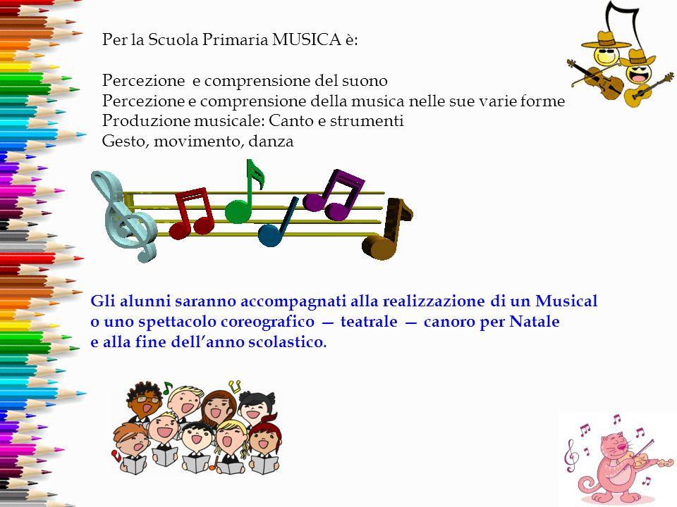 Per la Scuola Primaria MUSICA è: Percezione e comprensione del suono Percezione e comprensione della musica nelle sue varie forme Produzione musicale: