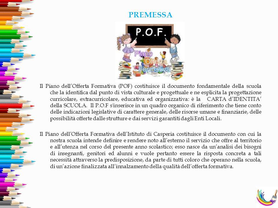 PREMESSA Il Piano dell'Offerta Formativa (POF) costituisce il documento fondamentale della scuola che la identifica dal punto di vista culturale e pro