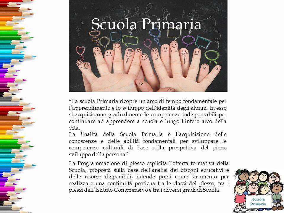 """Scuola Primaria """" La scuola Primaria ricopre un arco di tempo fondamentale per l'apprendimento e lo sviluppo dell'identità degli alunni. In esso si ac"""