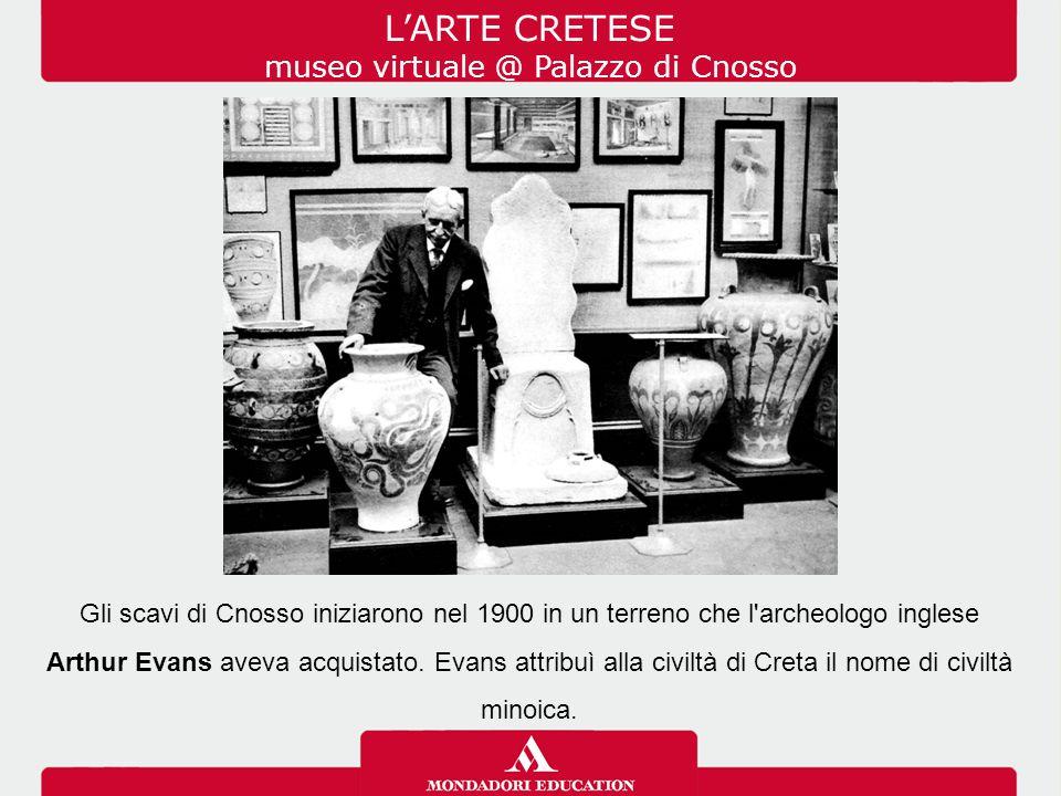 Gli scavi di Cnosso iniziarono nel 1900 in un terreno che l'archeologo inglese Arthur Evans aveva acquistato. Evans attribuì alla civiltà di Creta il