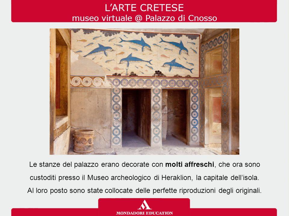 Le stanze del palazzo erano decorate con molti affreschi, che ora sono custoditi presso il Museo archeologico di Heraklion, la capitale dell'isola. Al