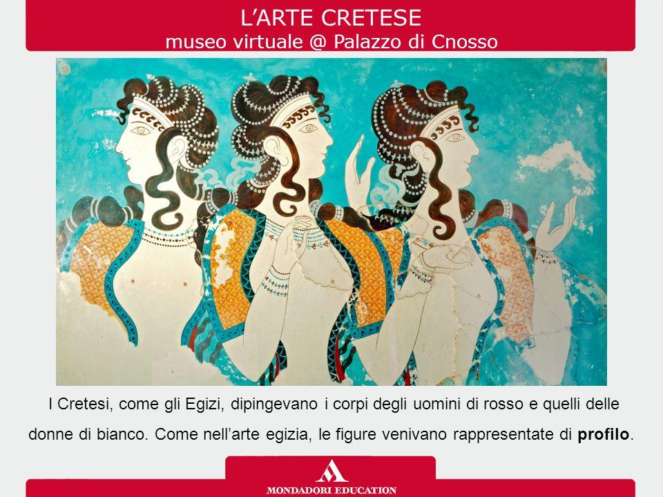 I Cretesi, come gli Egizi, dipingevano i corpi degli uomini di rosso e quelli delle donne di bianco. Come nell'arte egizia, le figure venivano rappres