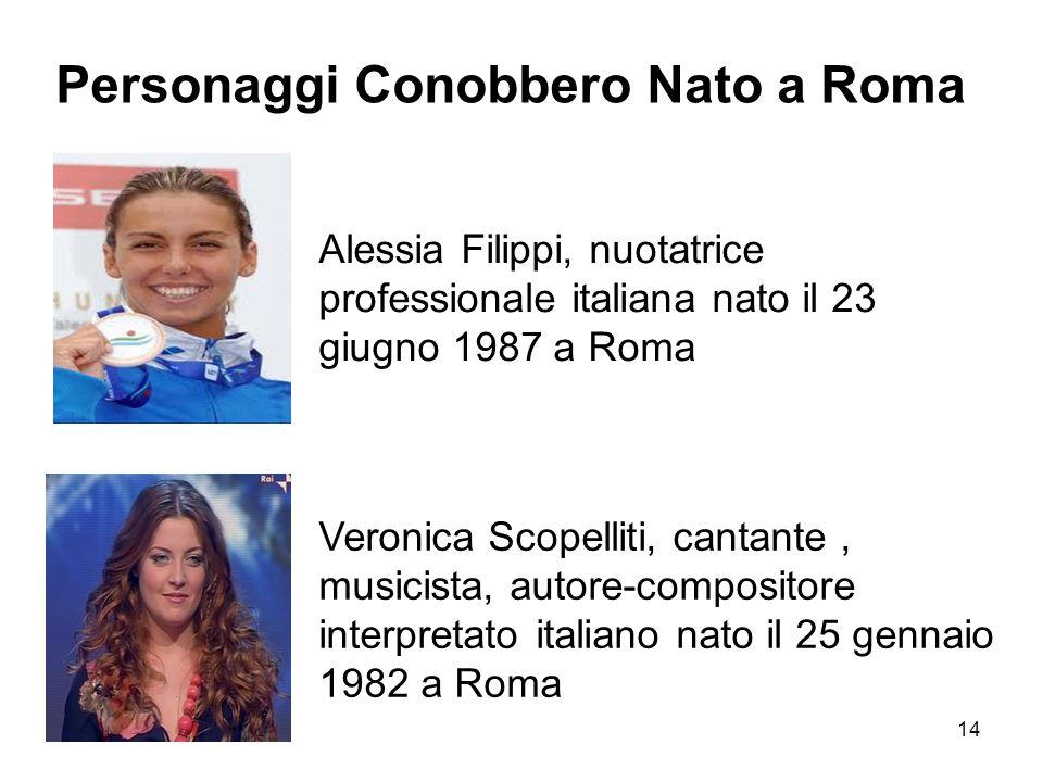 14 Alessia Filippi, nuotatrice professionale italiana nato il 23 giugno 1987 a Roma Veronica Scopelliti, cantante, musicista, autore-compositore inter