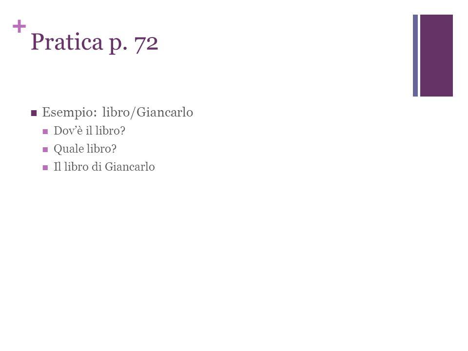 + Pratica p. 72 Esempio: libro/Giancarlo Dov'è il libro Quale libro Il libro di Giancarlo