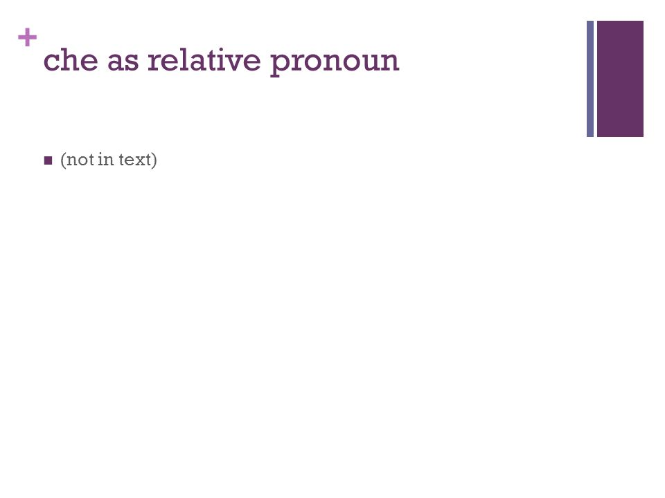 + che as relative pronoun (not in text)