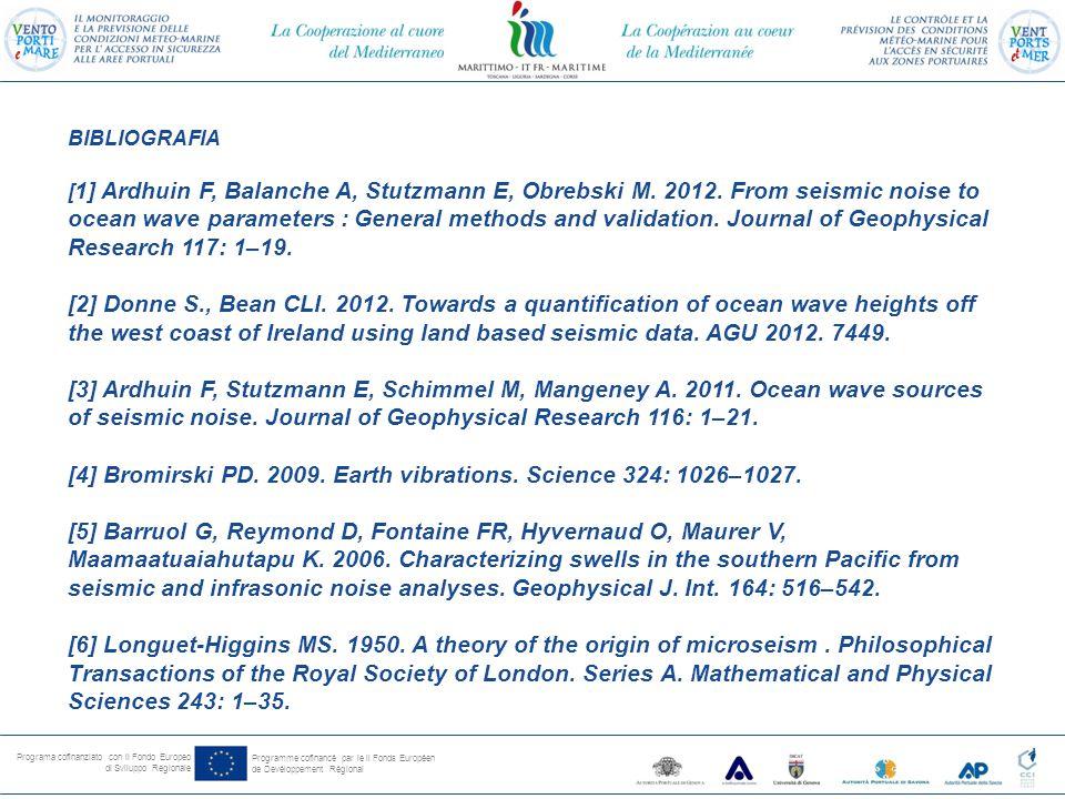 Programa cofinanziato con il Fondo Europeo di Sviluppo Regionale Programme cofinancé par le il Fonds Européen de Devéloppement Régional BIBLIOGRAFIA [ 1] Ardhuin F, Balanche A, Stutzmann E, Obrebski M.