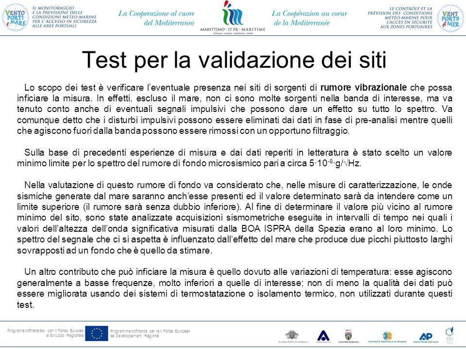 Programa cofinanziato con il Fondo Europeo di Sviluppo Regionale Programme cofinancé par le il Fonds Européen de Devéloppement Régional Densità spettrale della registrazione sismometrica eseguita a Villa Pezzino Porto Venere, sede dell' INGV, 16 Marzo 2013 dalle 18:00 alle 24:00.