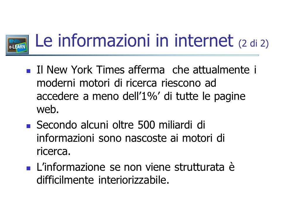 Il New York Times afferma che attualmente i moderni motori di ricerca riescono ad accedere a meno dell'1%' di tutte le pagine web.