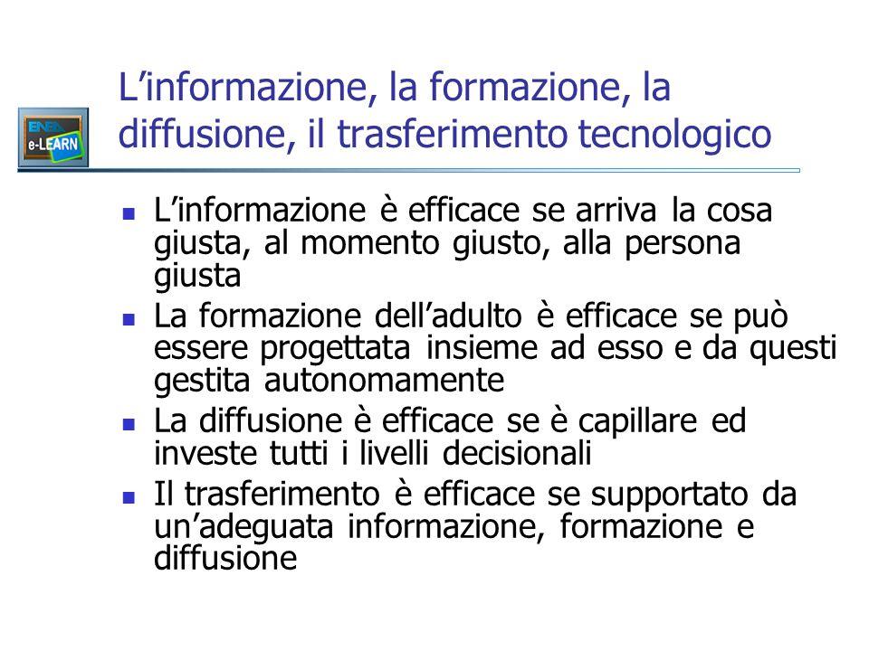 L'informazione, la formazione, la diffusione, il trasferimento tecnologico L'informazione è efficace se arriva la cosa giusta, al momento giusto, alla