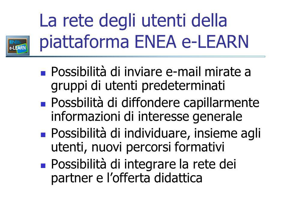 La rete degli utenti della piattaforma ENEA e-LEARN Possibilità di inviare e-mail mirate a gruppi di utenti predeterminati Possbilità di diffondere capillarmente informazioni di interesse generale Possibilità di individuare, insieme agli utenti, nuovi percorsi formativi Possibilità di integrare la rete dei partner e l'offerta didattica