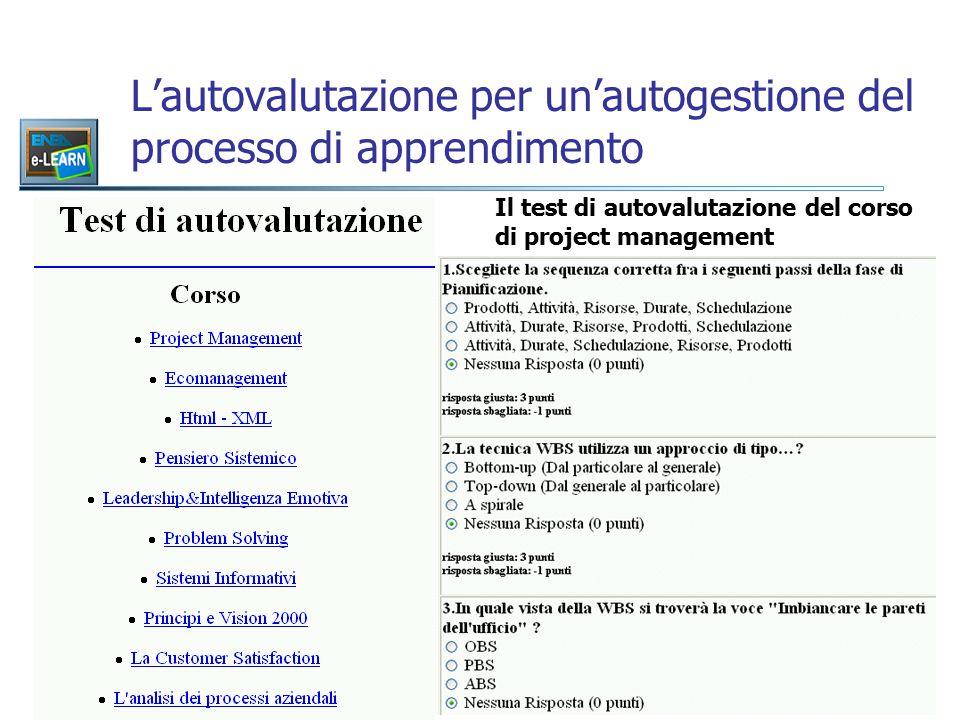L'autovalutazione per un'autogestione del processo di apprendimento Il test di autovalutazione del corso di project management