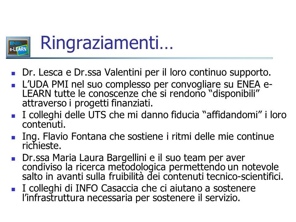 Ringraziamenti… Dr. Lesca e Dr.ssa Valentini per il loro continuo supporto. L'UDA PMI nel suo complesso per convogliare su ENEA e- LEARN tutte le cono