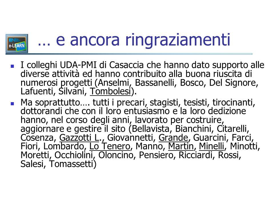 … e ancora ringraziamenti I colleghi UDA-PMI di Casaccia che hanno dato supporto alle diverse attività ed hanno contribuito alla buona riuscita di numerosi progetti (Anselmi, Bassanelli, Bosco, Del Signore, Lafuenti, Silvani, Tombolesi).