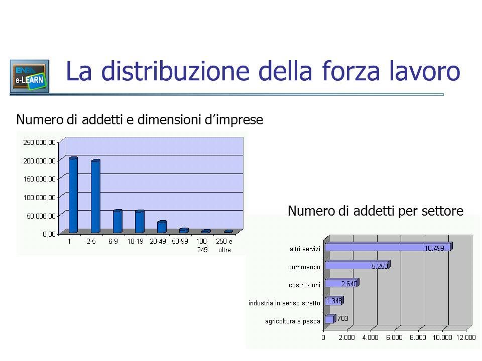 La distribuzione della forza lavoro Numero di addetti e dimensioni d'imprese Numero di addetti per settore