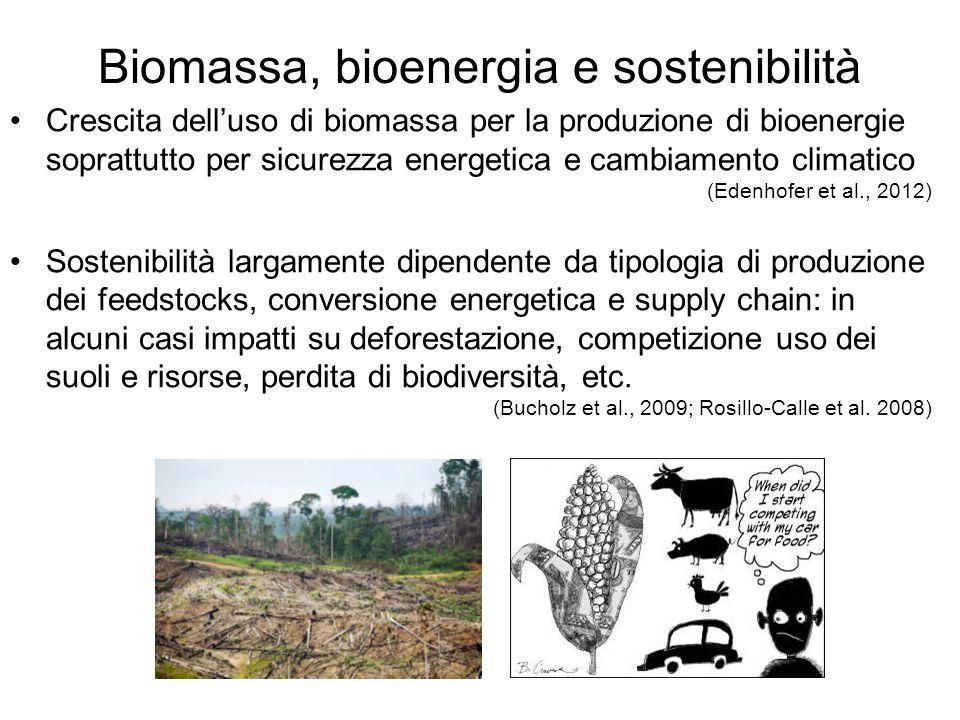 Biomassa, bioenergia e sostenibilità Crescita dell'uso di biomassa per la produzione di bioenergie soprattutto per sicurezza energetica e cambiamento climatico (Edenhofer et al., 2012) Sostenibilità largamente dipendente da tipologia di produzione dei feedstocks, conversione energetica e supply chain: in alcuni casi impatti su deforestazione, competizione uso dei suoli e risorse, perdita di biodiversità, etc.