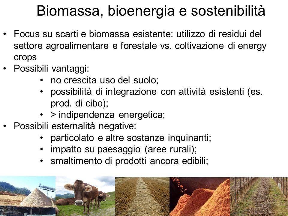 Focus su scarti e biomassa esistente: utilizzo di residui del settore agroalimentare e forestale vs.