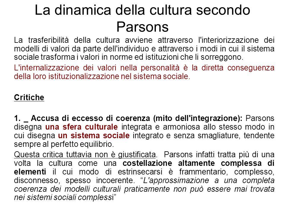 La dinamica della cultura secondo Parsons La trasferibilità della cultura avviene attraverso l'interiorizzazione dei modelli di valori da parte dell'i