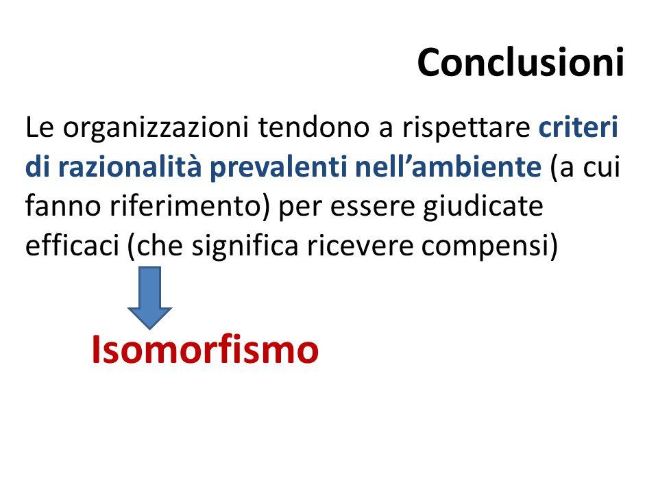 Conclusioni Le organizzazioni tendono a rispettare criteri di razionalità prevalenti nell'ambiente (a cui fanno riferimento) per essere giudicate effi