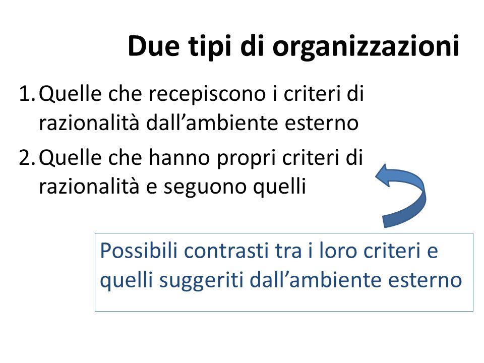 Due tipi di organizzazioni 1.Quelle che recepiscono i criteri di razionalità dall'ambiente esterno 2.Quelle che hanno propri criteri di razionalità e