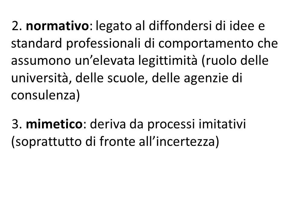 2. normativo: legato al diffondersi di idee e standard professionali di comportamento che assumono un'elevata legittimità (ruolo delle università, del