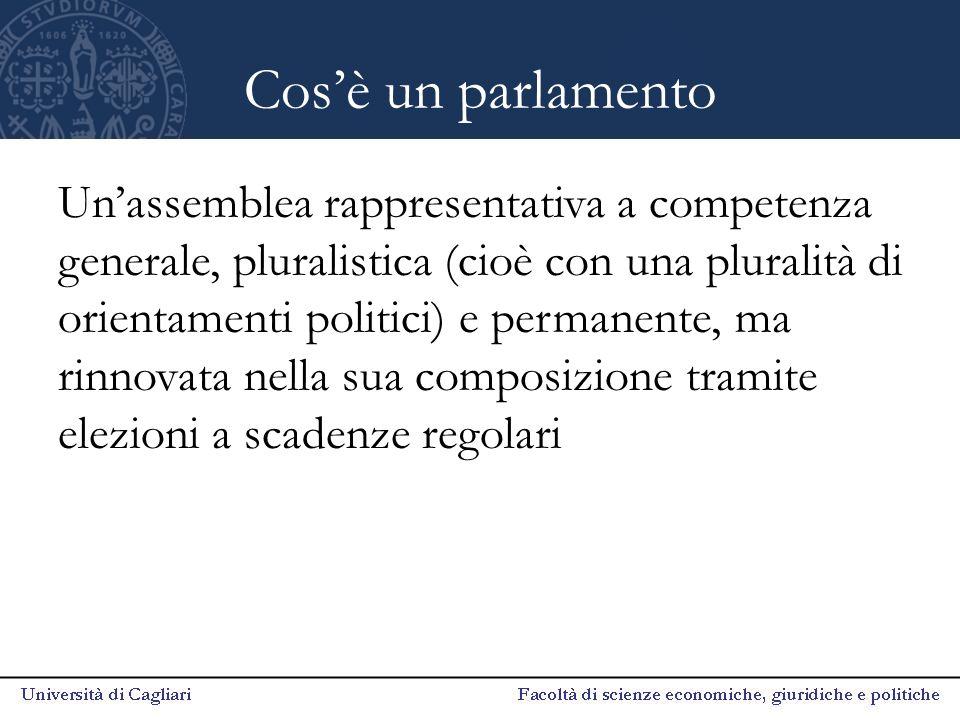 Cos'è un parlamento Un'assemblea rappresentativa a competenza generale, pluralistica (cioè con una pluralità di orientamenti politici) e permanente, m
