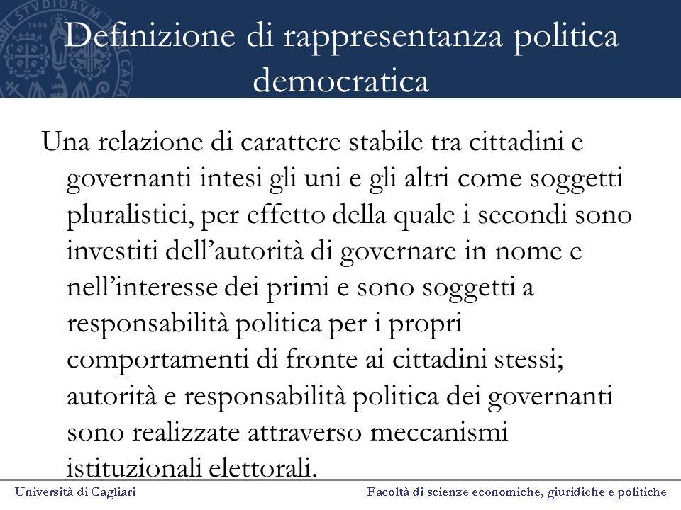 Definizione di rappresentanza politica democratica Una relazione di carattere stabile tra cittadini e governanti intesi gli uni e gli altri come sogge
