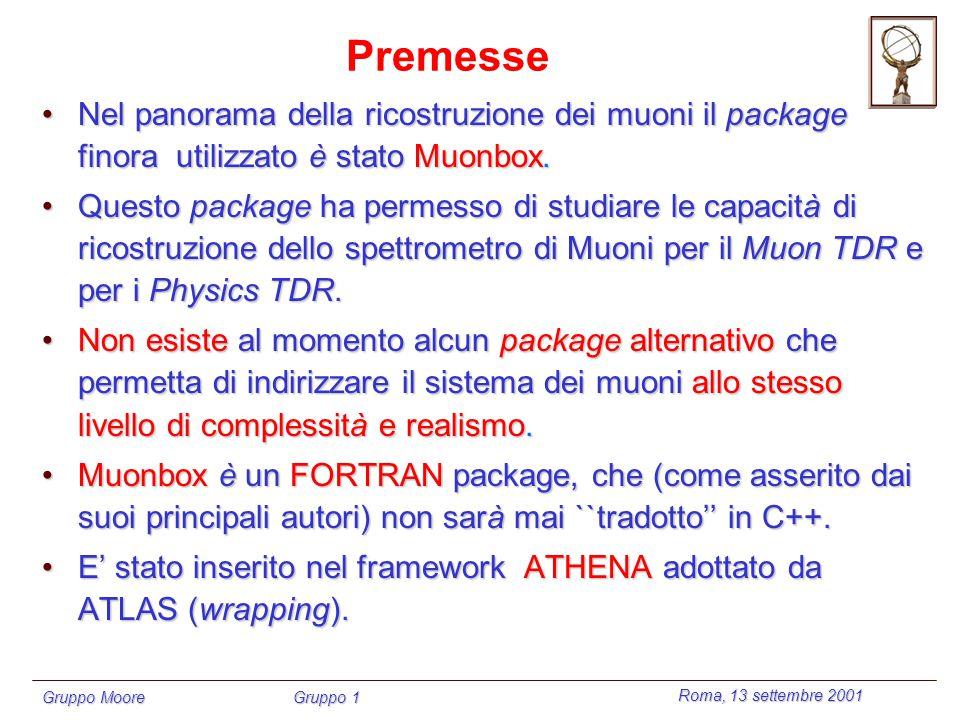 Roma, 13 settembre 2001 Gruppo Moore Gruppo 1 Premesse Nel panorama della ricostruzione dei muoni il package finora utilizzato è stato Muonbox.Nel panorama della ricostruzione dei muoni il package finora utilizzato è stato Muonbox.