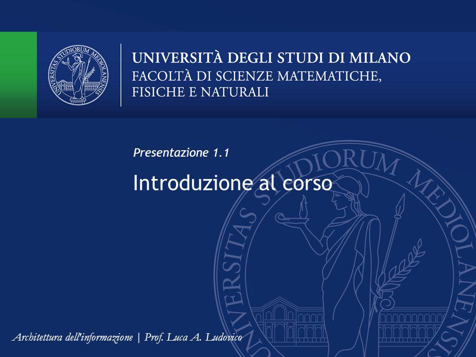 Introduzione al corso Presentazione 1.1 Architettura dell informazione | Prof. Luca A. Ludovico