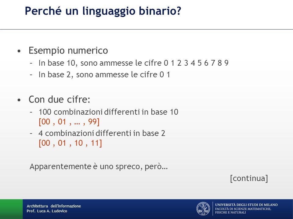 Perché un linguaggio binario.